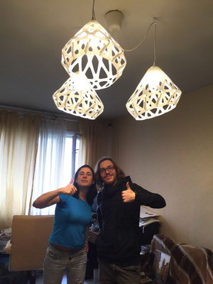 Finished chandelier in the guestroom