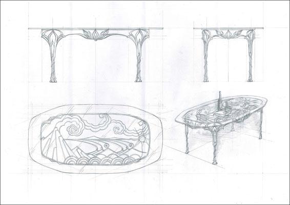 """Стол обеденный овальный """"Лотос"""". Стеклянная столешница с кованым подстольем ручной работы. Размеры 1980x1000"""