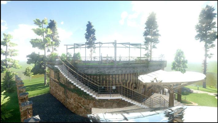 Подземный гараж и зона спа над ним, вырастают из рельефа, двусветная гостинная же обращена на озеро широкой панорамой фасадного остекления.