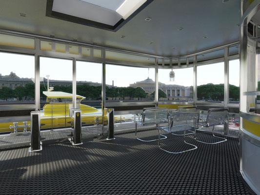Дизайн проект интерьера павильона причала для водного такси