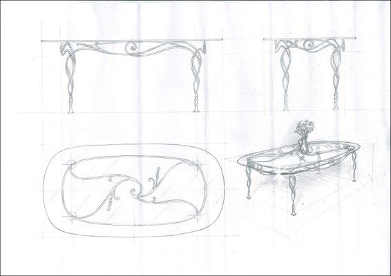 """Стол обеденный овальный """"Увертюра"""". Стеклянная столешница с кованым подстольем ручной работы. Размеры 1980x1000"""