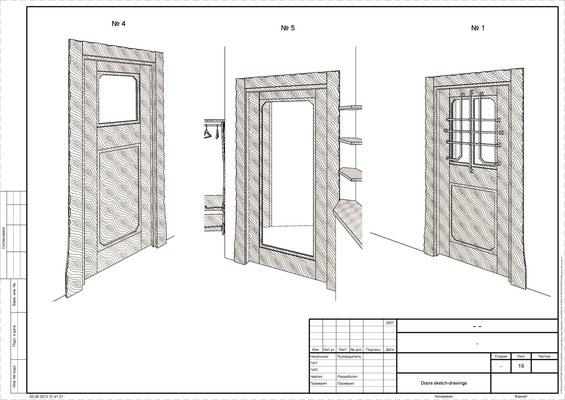 Дизайн входных дверей в банный комплекс.