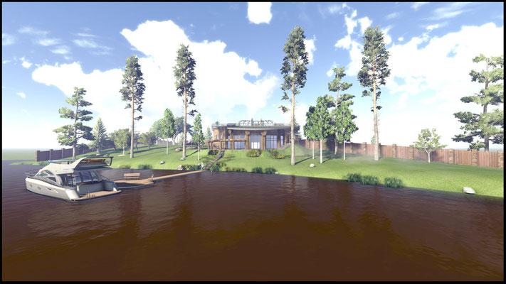 Вид на фасад бани со стороны озера. Архитектурный проект.