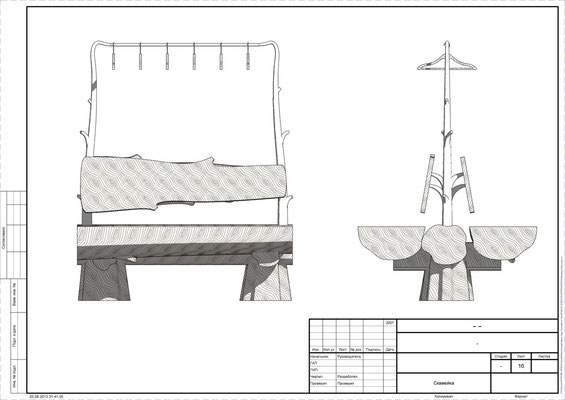 Дизайн-проект скамейки в прихожей в стиле адирондак.