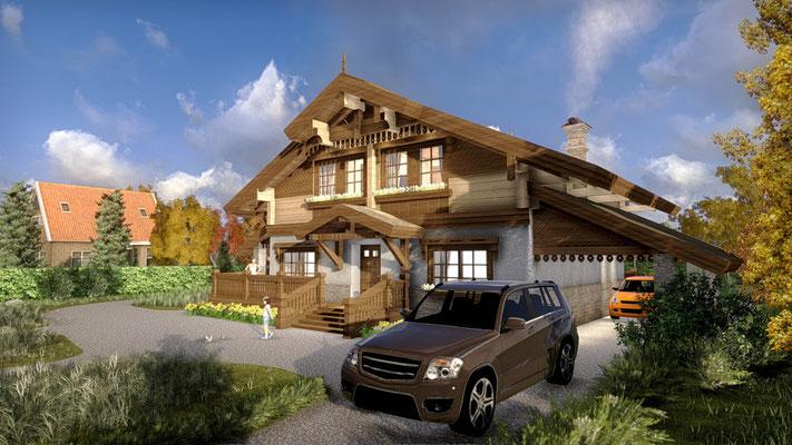 Комбинированный дом. Визуализация.