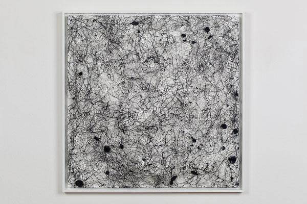 Katharina Lehmann / MYCELIUM WHITE / Thread-Drip Painting - Acryl, 1.300 Meter Faden auf Leinwand / 50x50 cm / 2015 / Photo © Julia Smirnova
