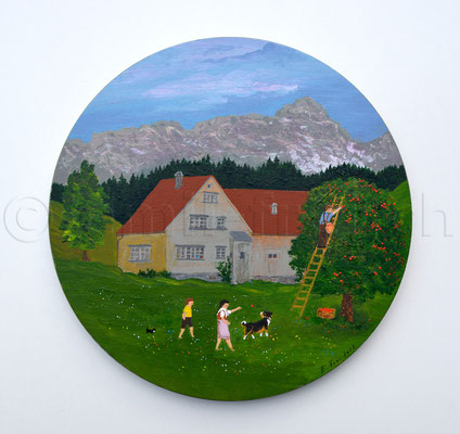 20 cm, Acryl auf Holz, 2013, (Vier Jahreszeiten)