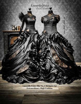steampunk schwarzes brautkleid