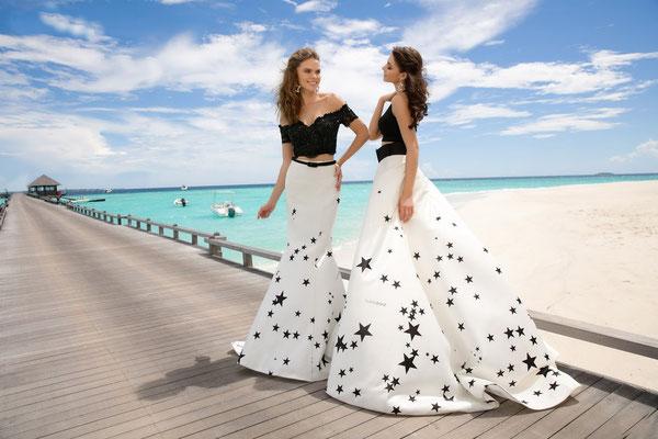 schwarz-weißes Brautkleid