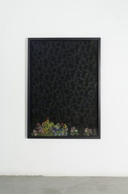 giardini, 2019, cut-out on paper, collage and smoked glass, 109x79 cm