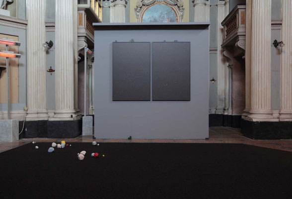 view of the exhibition:  the best place, 2017, MDF, metal, carpet, 29 ceramic elements, acetovinyl glue, digital printing on paper, silver graphite powder, wood Paint by Giovanni Francesco Guerrieri, oil on canvas, 1627. environmental measures