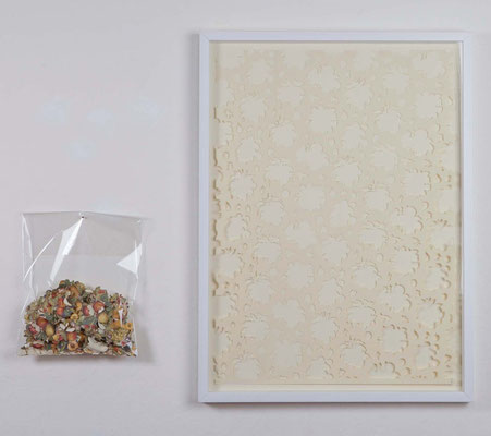 the place of flower and fruit, 2015, cut-out on paper, plastic bag, 70x50 cm + bag 40x30 cm