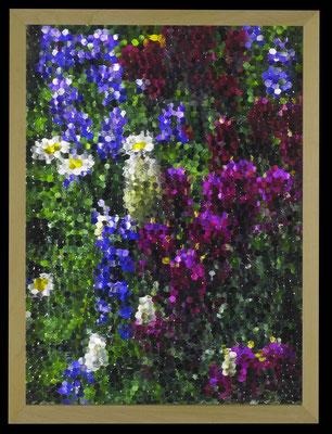 mosaic (purple and blue), 2016, digital printing, printed honeycomb glass, 40x30 cm