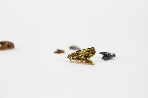 we can always talk about the weather, 2019. bronze, golden bronze with yellow gold, golden bronze with rose gold and silver 13 elements, life-size insects. variable dimensions
