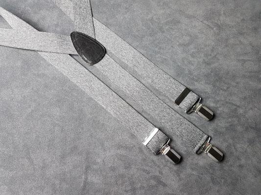 3.5 cm uni Hosenträger mit Lederrücken