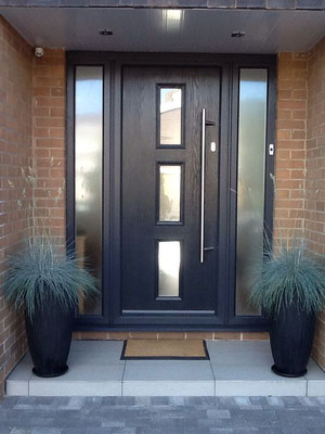 Нестандартная металлическая  дверь со стеклянными вставками.