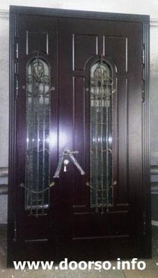 Дверь стекло+ковка в коттедж.