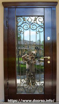 Дверь стекло+ковка