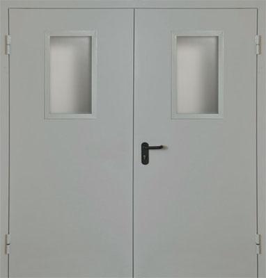 Техническая металлическая  дверь со стеклом.