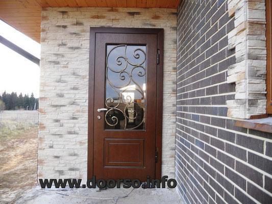 металлическая дверь мдф+стекло.