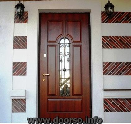 Металлическая дверь со стеклом+ковка.
