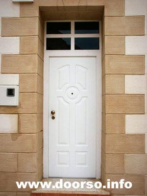 Металлическая дверь, цвет белый. Фромуга стеклопакет.