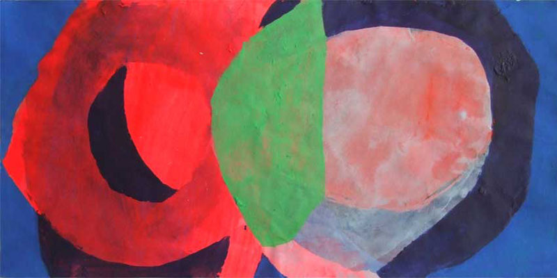 Roter Mond, Mischtechnik auf Papier, 20cm x 40cm, 2008