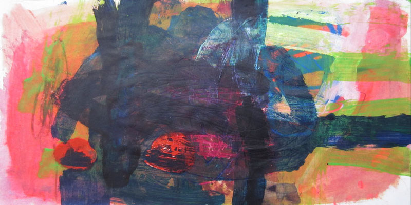 Kuckuck, Mischtechnik auf Papier, 20cm x 40cm, 2005