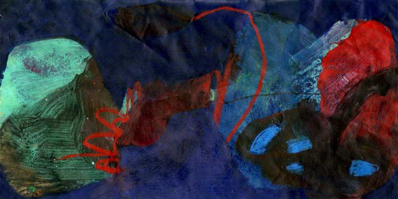 Traum, Mischtechnik auf Papier, 20cm x 40cm, 2005