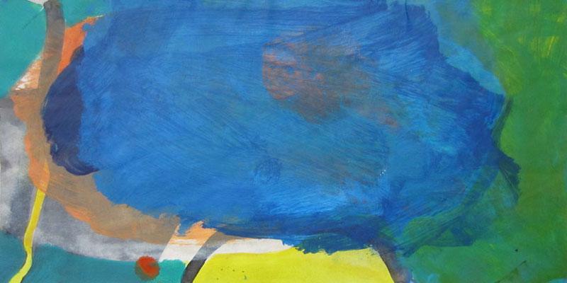 Blau, Mischtechnik auf Papier, 20cm x 40cm, 2005