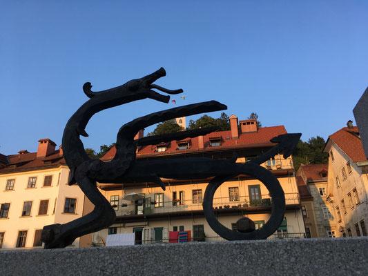 Ljubljana - Stadt der Drachen. Es heißt: Erst wenn man sich mit einem der Drachen auf der Drachenbrücke fotografieren lässt, hat man Ljubljana wirklich besucht!