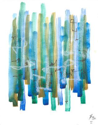Increasing I - 08/2019 - 19x24 cm - Aquarell, Tinte & Ölpastell auf 300g Aquarellpapier