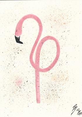 The Flamingo - 12/2017 - 21x29,7 cm - Aquarell auf 170g Skizzenpapier (in Privatbesitz)