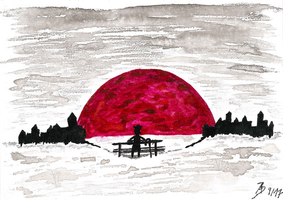 The Sunset - 09/2017 - 13x18 cm - Aquarell auf Malkarton (in Privatbesitz)