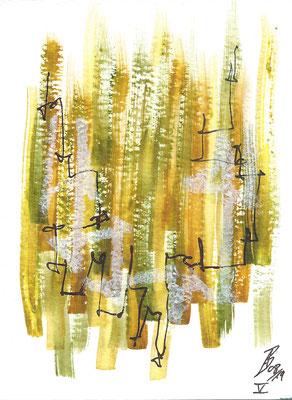 Dinky V - 08/2019 - 10,5x15,5 cm - Aquarell, Tinte & Ölpastell auf 300g Aquarellpapier