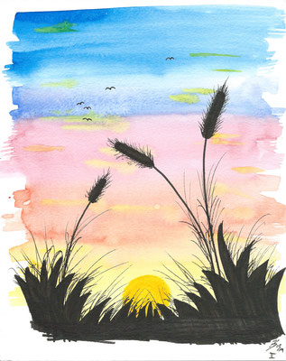 Sundown II - 08/2019 - 19x24 cm - Aquarell & Tinte auf 300g Aquarellpapier