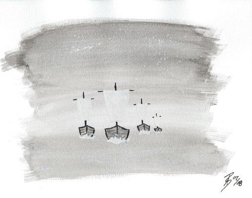 The Fleet II - 02/2018 - 19x24 cm - Aquarell auf 300g Aquarellpapier (in Privatbesitz)