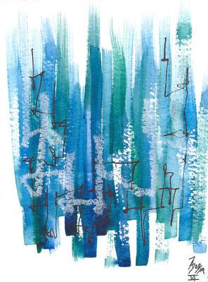 Dinky VI - 08/2019 - 10,5x15,5 cm - Aquarell, Tinte & Ölpastell auf 300g Aquarellpapier