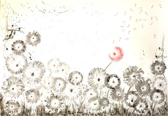 The one Dandelion - 04/2019 - 70x100 cm - Aquarell & Tinte auf 250g Aquarellpapier