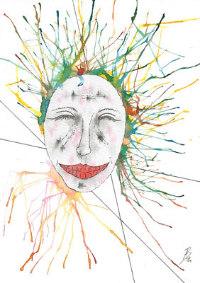 Smiling - 10/2019 - 17x24 cm - Aquarell & Tinte auf 300g Aquarellpapier