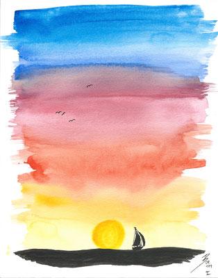 Sundown I - 08/2019 - 19x24 cm - Aquarell & Tinte auf 300g Aquarellpapier