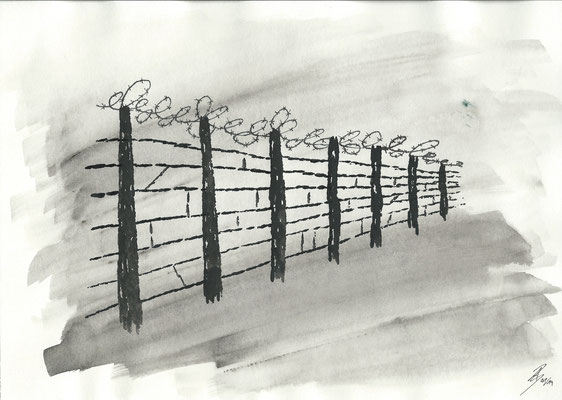 Barbed Wired Fence - 01/2019 - 21x29,7 cm - Aquarell auf 170g Skizzenpapier