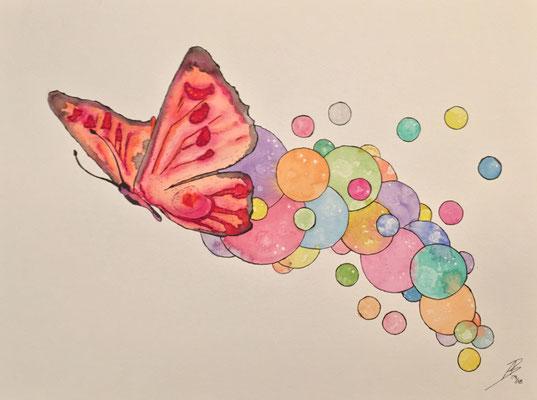 The Butterfly - 09/2018 - 36x48 cm - Aquarell auf 300g Aquarellpapier (in Privatbesitz)