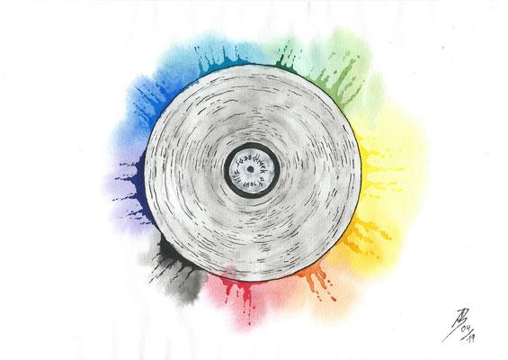 Vinyl Record - 04/2019 - 21x29,7 cm - Aquarell & Tinte auf 150g Aquarellpapier (in Privatbesitz)