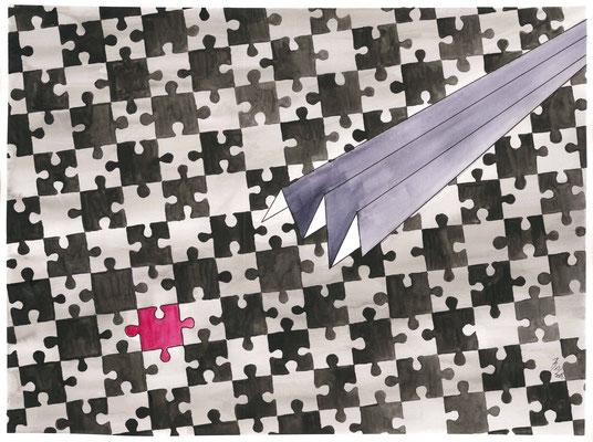 Another Piece - 12/2018 - 36x48 cm - Aquarell & Tinte auf 300g Aquarellpapier (in Privatbesitz)