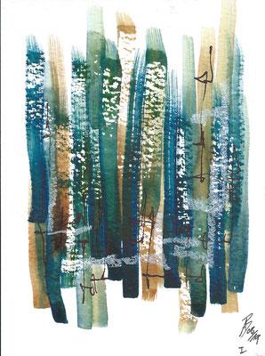 Dinky I - 08/2019 - 10,5x15,5 cm - Aquarell, Tinte & Ölpastell auf 300g Aquarellpapier