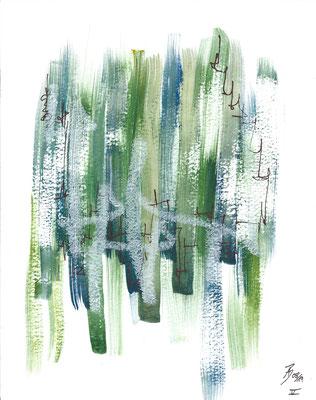 Increasing V - 08/2019 - 19x24 cm - Aquarell, Tinte & Ölpastell auf 300g Aquarellpapier
