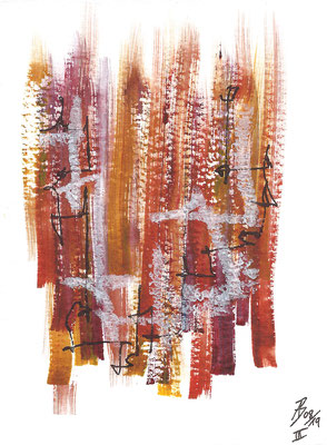Dinky III - 08/2019 - 10,5x15,5 cm - Aquarell, Tinte & Ölpastell auf 300g Aquarellpapier