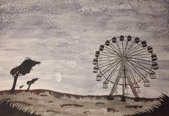 Ferris Wheel - 01/2019 - 70x100 cm - Aquarell & Tinte auf 250g Aquarellpapier