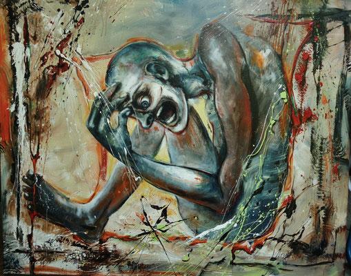 """""""Mein Gedanke und ich"""" Acryl auf Leinwand 80 x 100"""